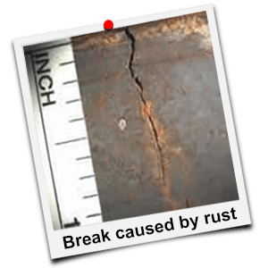 break caused by rust